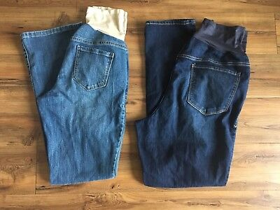 Euc Old Navy Maternity Jeans Size 8 Lot Of 2 Skinny Dark Wash & Boot Cut Light