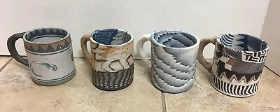Lot Of 4 Siegele & Haley Buzzard Mountain Earthtones Studio Art Pottery Mugs