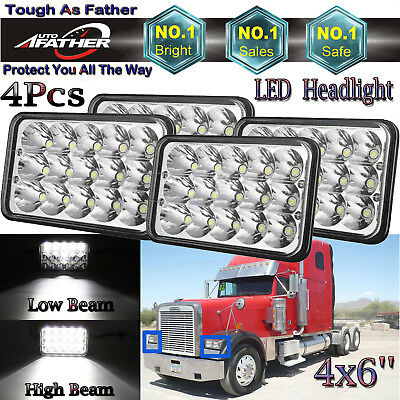 "LED HEADLIGHT 4x6"" Hi/Lo Sealed Beam Headlamp Bulb H4651 H4652 H4656 H4666 H6545"