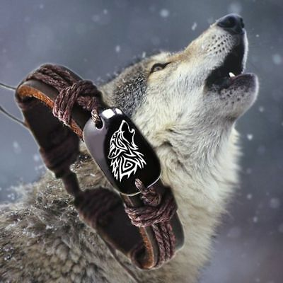 Men Women Fashion Wolf Animal Woven Rope PU Leather Bracelet Jewelry Gift