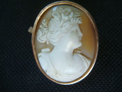 Fine Antique Victorian Carved Shell Cameo Solid Gold Brooch Brooch Pin