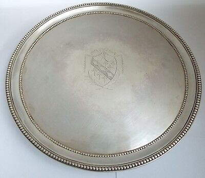 Fine Large Heavy English Antique Georgian 1792 Solid Sterling Silver Salver Tray