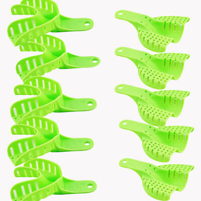 10pcs Dental Plastic Impression Trays set Autoclavable Green for Repeated Use