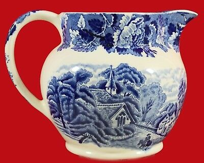 """Enoch Woods Woods Ware English Blue & White Pitcher Country Scene 1930 5"""" Mint!"""