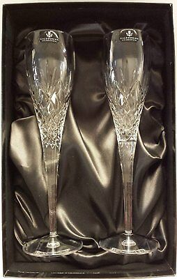 Caledonian Fully Cut 24% Lead Crystal Champagne Flutes x 2 In Presentation Box