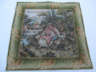 Old French / Belgium Tapestry Wall Hanging - 90 x 90 cm ( 4606 )