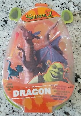 "Hasbro 8"" Shrek 2 ""Dragon"" Figure with Little Donkey NEW BOXED - RARE"