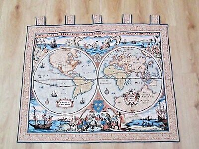Large Old French Chateau Wall Hanging Tapestry - Atlas / Globe Design By Goblys