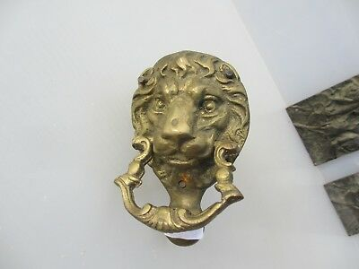Small Vintage Brass Lion Head Door Knocker Lions Architectural Old