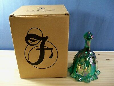 Fenton Green Carnival Glass Bell w/ Embossed Grapes Design - MIB