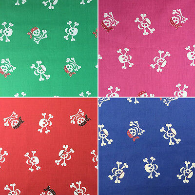 "Halloween Poly Cotton Printed Pirate Skulls Crafting Fabric 45"" - 114cm Width"
