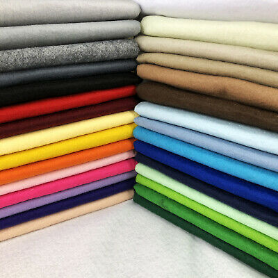 """Acrylic Felt Fabric Wool Blend Plain Sold By the Metre 60"""" 150cm Wide 20 Colours"""