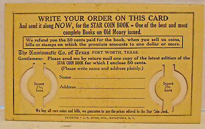 The Numismatic Co. of Texas, Card/Order Form for Star Coin Book, Ft. Worth, TX