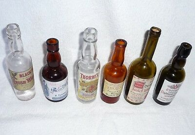 """Collection of 6 Miniature Bottles Labeled For """"THORNES WHISKIES & GIN"""""""