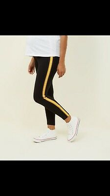 New Look Maternity Leggings Black Yellow Stripe Size 16 Worn Once, This Season