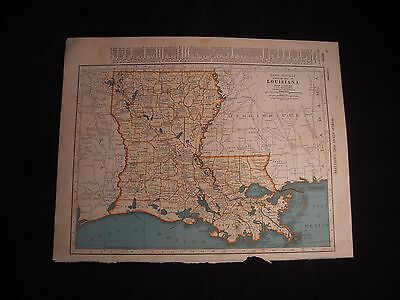Vintage 1940 Color Map of Louisiana from Colliers World Atlas Original