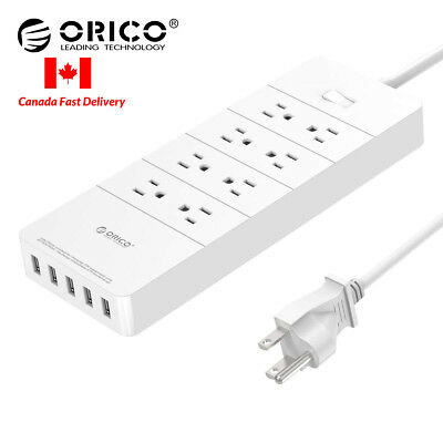 ORICO 8-Outlet AC 40W Surge Protector with 5FT Power Strip 5 USB Charging Port