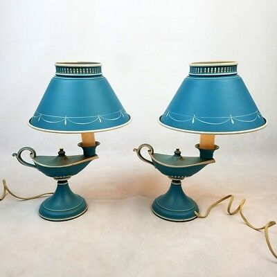 Vintage Alladin Genie Table Lamps Blue Tole ShadesBedside Metal Enamel Lot of 2