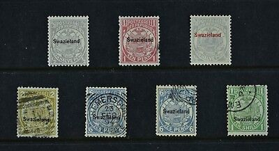 SWAZILAND, 7 Tripartite stamps for sorting, a combination of MM & used condt.