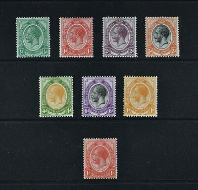 South Africa, KGV, 1913 / 24, eight (8) stamps from the set, mounted mint.