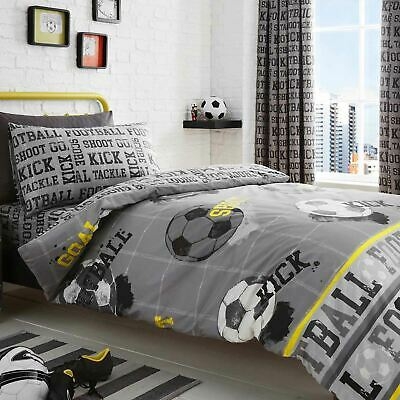 Kids Duvet Covers Grey Football Soccer Reversible Print Quilt Bedding Sets