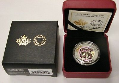 Canada 2014 First Nations Art Salmon Hologram $10 1/2 Oz Fine Silver Proof Coin