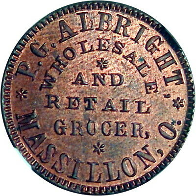 1863 Massillon Ohio Civil War Token P G Albright Grocer NGC MS64 Very Red