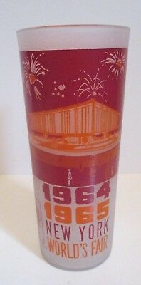 1964 - 1965 New York World's Fair Nywf Frosted Glass Tumbler Federal Pavilion