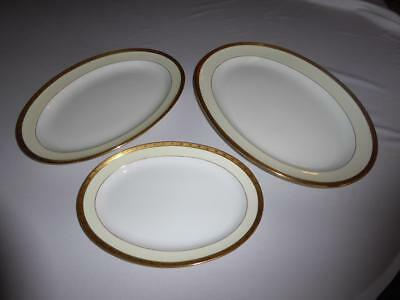 """3 Minton English Bone China Gold Encrusted Oval Serving Platters 11"""" 13"""" 15"""""""