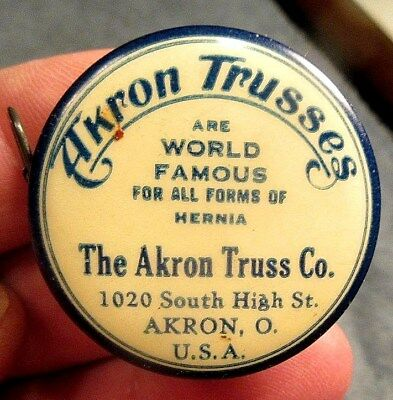 1919 Akron Truss Co., World Famous Hernia Trusses Celluloid Cloth Tape Measure