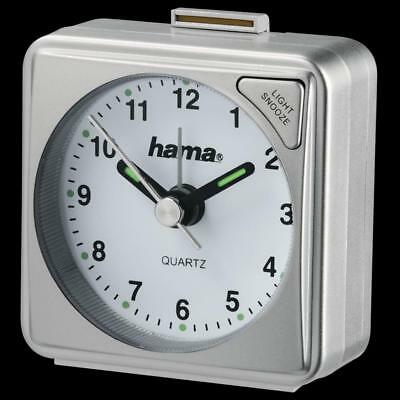 "Hama ""A50"" Silver Travel Alarm Clock Travelling Fluorescent Hand Battery"