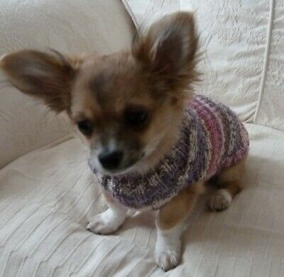 """10"""" Hand Knitted Warm Chihuahua Small Dog Puppy Teacup Cat Jumper Coat Sweater."""