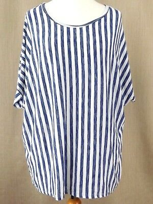 Womens Ladies Summer Spring Top Stripes Plus Size Short Sleeve Loose Airy Boho