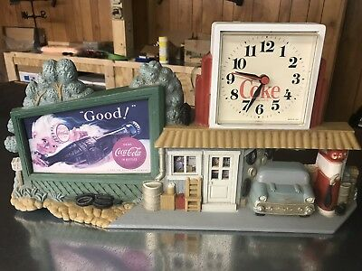 VTG  BURWOOD COCA-COLA COKE WALL CLOCK 1950's SERVICE STATION MADE IN USA 1990