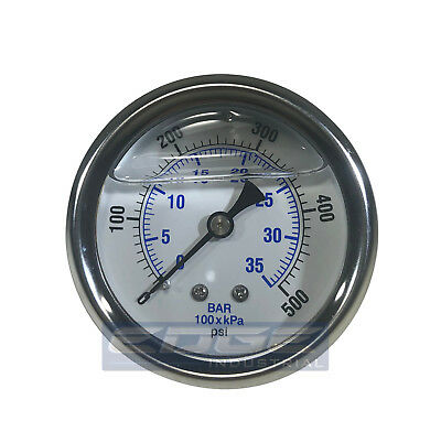 "Liquid Filled Pressure Gauge 0-500 Psi, 2.5"" Face, 1/4"" Back Mount Wog"