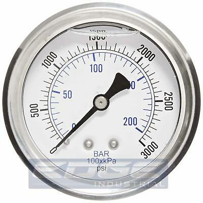 "Liquid Filled Pressure Gauge 0-3000 Psi, 2.5"" Face, 1/4"" Back Mount Wog"