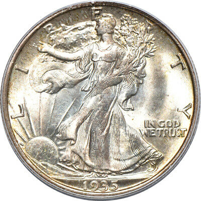 1935 Walking Liberty Half Dollar MS / Mint State 65 CAC, PCGS 50C C40266