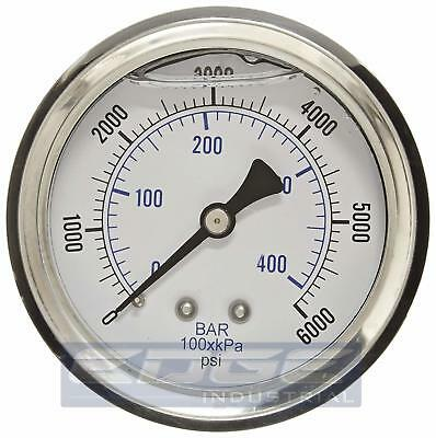 "Liquid Filled Pressure Gauge 0-6000 Psi, 2.5"" Face, 1/4"" Back Mount Wog"