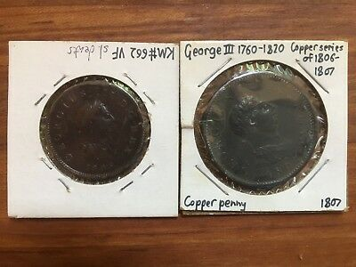SET OF 2: George III Copper Series of 1806-7: Penny and Halfpenny, F & VF