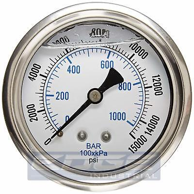 "Liquid Filled Pressure Gauge 0-15,000 Psi, 2.5"" Face, 1/4"" Back Mount Wog"