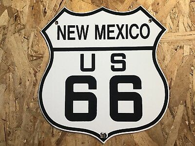 Vintage Us Route 66 New Mexico 11 3/4 Porcelain Metal Sign Road Street Gas Oil