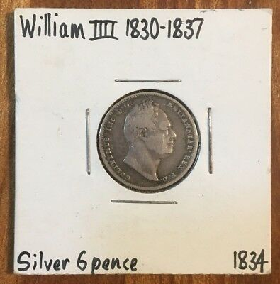 Great Britain: SET OF 2: Silver Sixpence and Shilling of William IV, F