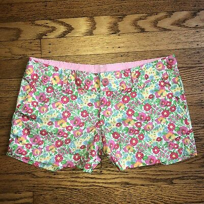 Lilly Pulitzer Womens Shorts Size 4 Pink Cotton Floral Print Flat Front Casual