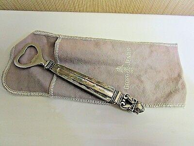 """Vintage Georg Jensen Sterling Bottle Opener with Pouch. 6"""""""