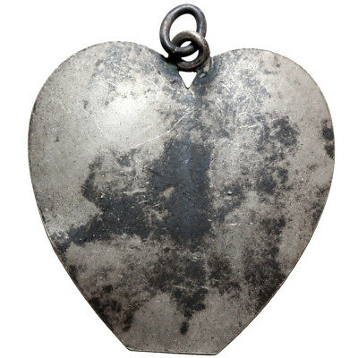 A Late Byzantine Or Medieval Silver Heart Amulet Pendant-Symbol Of Love-Large!!