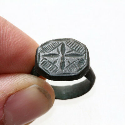 Stunning Late Byzantine Bronze Seal Ring Circa 1200-1400 Ad
