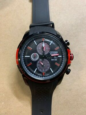 Citizen Eco-Drive CA0425-03E Mens Black & Red Ion Plated Solar Chronograph Watch