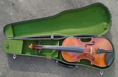 fine antique  full size German Stradivarius model  violin in case playable