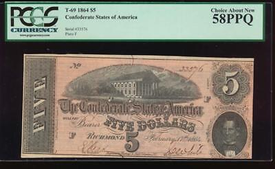 AC T-69 $5 1864 Confederate Currency CSA PCGS 58 PPQ