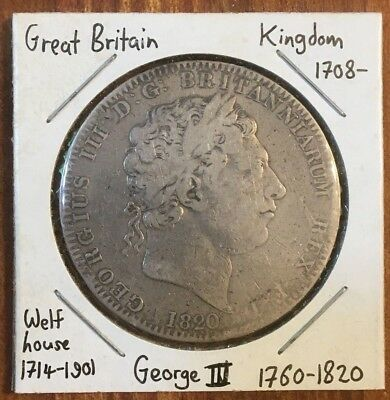Great Britain: Silver CROWN of the last year of MAD KING GEORGE III, 1820